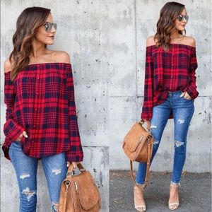 Tops - Last 1!❤️Red Plaid Flannel Off the Shoulder Blouse